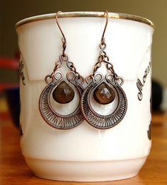 Wire Wrapped Earrings - Smokey Quartz & Copper by Izabella Bako