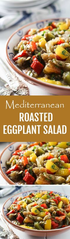 This simple and healthy Mediterranean Roasted Eggplant Salad is made with bell peppers, tomatoes, fresh herbs, olive oil and, lemon juice. It can be served warm or cold and tastes great as a side dish, salad or appetizer. You can also add it to sandwiches and wraps.