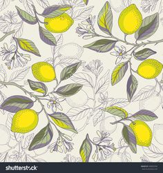 Lemon branches seamless pattern. Beautiful floral background. Botanical citrus plants. Vector illustration.