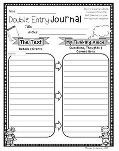 """""""Double Entry Journal"""" 1 of 10 printables from """"Reading Comprehension Printables for any Chapter Book."""""""