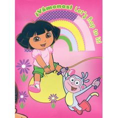 The Dora Hop To It Korean Mink Blanket measures 60 x 80 inches and comes in a reusable plastic carrying case. It is big enough to cover yourself on your sofa or drape over a twin or full size bed. This blanket features the Nickelodeon cartoon & her best friend Boots. It is officially licensed. These blankets are extra warm & plush and have superior durability. Easy Care, machine wash and dry.  Buy online www.TheBlanketCompany.com or Call at (801) 280-6200.