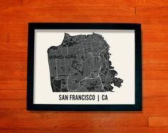San Francisco Map Art City Print, 18 x 24. $28.00, via Etsy.