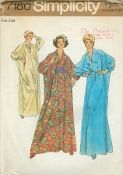 An unused original ca. 1975 Simplicity Pattern 7180.  Caftan and Cummerbund for Women's, Misses' and Half Sizes- One Size fits Bbust 31.5 through 48: The one size caftan with stitching lines for small, medium, and large size has high round neckline, front slit opening fastened with loops and buttons, long kimono type sleeves gathered to loop and button fastened cuffs, optional openings for cummerbund or purchased tie belt. The contrasting pleated cummerbund is...