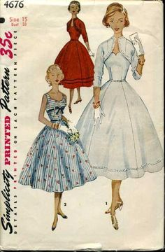 Vintage Sewing Pattern Simplicity 4676 One Piece Party Wedding Dress and Bolero Jacket Bust 36 1950s Dress Patterns, Dress Sewing Patterns, Vintage Sewing Patterns, Clothing Patterns, Pattern Dress, Sewing Designs, Fabric Patterns, Vintage Dresses, Vintage Outfits