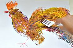 Fork Painting by kidsplaybox: Perfect for Chinese New Year of the Rooster! - Animal Art Projects for Kids - Fork Painting by kidsplaybox: Perfect for Chinese New Year of the Rooster! - Animal Art Projects for Kids - Chinese New Year Kids, Chinese New Year Crafts, Kindergarten Art, Preschool Art, New Year's Crafts, Crafts For Kids, Fork Crafts, Rooster Craft, Rooster Year