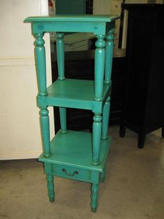 I can think of ALL kinds of colors! Turquoise Furniture, Kinds Of Colors, Rustic Decor, Favorite Color, Shelves, Furniture Redo, Canning, Turquoise Jewelry, Table