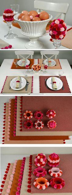 Carpet placemats, napkin rings | diy craft TUTORIALS