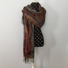 """Gorgeous Pashmina Wrap with Fringe ❤️The Perfect Gift for that wonderful Lady who already has everything! This Lovely Pashmina Showcases gorgeous Colors that are finely woven with a bit of Lurex in Gold! This adds just a wee bit of Sparkle to this Classy Wardrobe item. This can be YOURS today...(or gift it)Measures 40"""" long with added 3"""" Fringe each end; 22"""" Wide❤️NWOT Boutique Accessories Scarves & Wraps"""