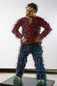 A Life-Size Family Made of Pencils