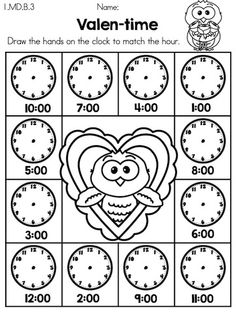 Valen-time (Time to the hour) >> Part of the Valentine's Day Kindergarten Math Worksheets packet