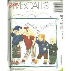 Childrens Tops, T-Shirt, Pants And Shorts - T-Shirt For Stretch Knits Only (McCall's Sewing Pattern 6713, Size: 2,3,4)