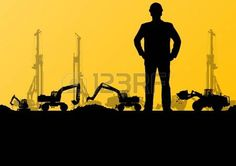 Engineers with excavator loaders and tractors digging at industrial construction site vector backgro Stock Vector