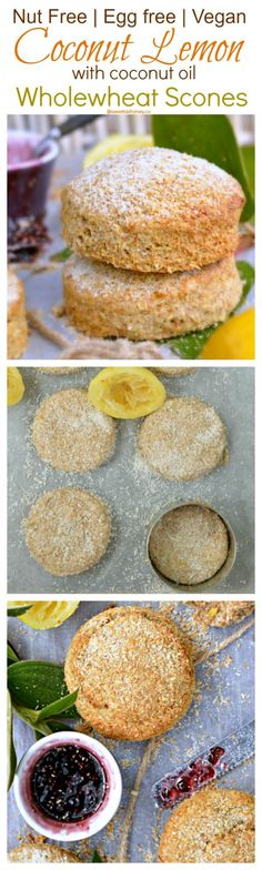 Easy. NO FAIL Healthy Scones. 6 ingredients only. You'll love those Coconut & Lemon Scones. Nut free + Egg free + Dairy free = Vegan Scones. Perfect for kids lunchbox too.