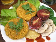 Hamburguesas veganas de lentejas rojas. Recetas veganas de Vegetarianismo.net Vegan Recepies, Vegetable Salad, Guacamole, Grains, Salads, Curry, Gluten Free, Pasta, Meat