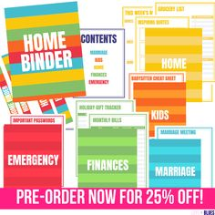 AVAILABLE NOW FOR PRE-ORDER: WILL BE DELIVERED ELECTRONICALLY 1/1/19!This is the most complete home binder printable guide you'll ever find! Contained, you'll find 50+ pages of worksheets, cheat sheets, and logs to help you organize your ENTIRE life... plus a complete guide to preparing an emergency binder (or flash drive) so you're not unprepared in a natural disaster! SO USEFUL. Police Wife Life, Emergency Binder, Happy Marriage, Marriage Tips, Home Quotes And Sayings, Christian Parenting, Planner Pages, Financial Planning, Cheat Sheets