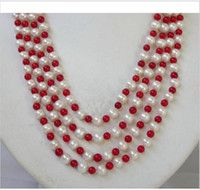"""+100""""surprising 6mm red coral +SOUTH SEA PEARL white pearl Necklace 14k"""