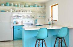 Bright Blue Kitchen #homedecor