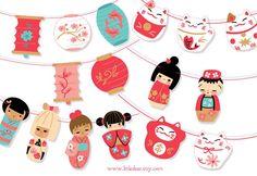 Printable Kokeshi Dolls Banner PDF digital download por littledear
