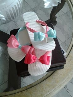 Sweet decorated flip flops for sweet sixteen birthday party
