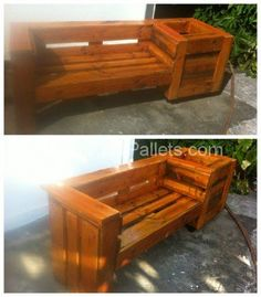 Pallet Combo: Garden Bench And Planter