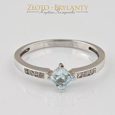 Złoty pierścionek zaręczynowy z akwamarynem 2,200 g | - Firma jubilerska - Krystian Szczepański | Złoto, Srebro, Diamenty