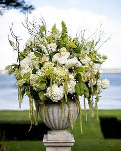 Whether you're making an arrangement for a grand hall or a simple nightstand, beautiful white flowers will lend a cooling effect on hot summer days! The Domestic Curator White Flower Arrangements, Wedding Arrangements, Floral Centerpieces, Wedding Centerpieces, Floral Decorations, Centrepieces, White Flowers, Beautiful Flowers, French Flowers