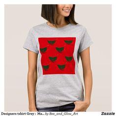 Designers tshirt Grey :  Mandarins Green Red