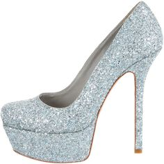 Pre-owned Alice + Olivia Glitter Platform Pumps (510 RON) ❤ liked on Polyvore featuring shoes, pumps, heels, light blue shoes, alice olivia shoes, pre owned shoes, heel platform shoes and platform shoes