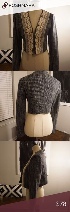 Anthropologie cropped jacket, tweed and lace Anthropologie cropped jacket, tweed and lace  In great condition, only used for work a few times. :) Anthropologie Jackets & Coats Blazers