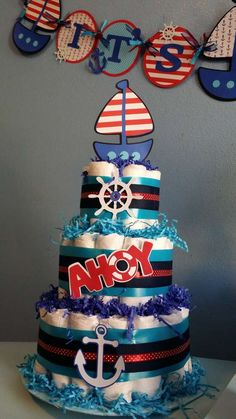 Diaper cake at a nautical baby shower! See more party planning ideas at CatchMyParty.com!