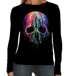 Velocitee Ladies Long Sleeve T-Shirt Melting Skull Horror Goth Biker A19423 #Velocitee