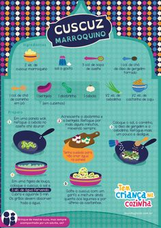 Receita: Cuscuz Marroquino Brazilian Dishes, Arabian Food, Couscous Recipes, Food Print, Home Chef, Just Cooking, English Food, Portuguese Recipes, Foods With Gluten