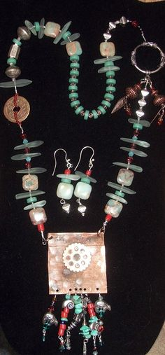 tammyvitale.com, ooak necklace and earrings,  recycled copper, faux sea glass, ss hill tribe beads and toggle, chinese coin, agate, swarovski crystals, coral and I don't know what the round beads are - resin or something like that, pewter charms.