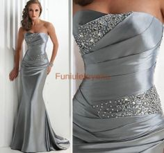 Hot Sale Mermaid Strapless Beaded Silver Formal Gowns Long Prom Evening Dresses   eBay