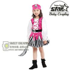 >> Click to Buy << Children's Halloween Costumes Girls Pirate Costume Kids Sparrow Cosplay Game Uniforms Caribbean Clothing Stage Clothing #Affiliate
