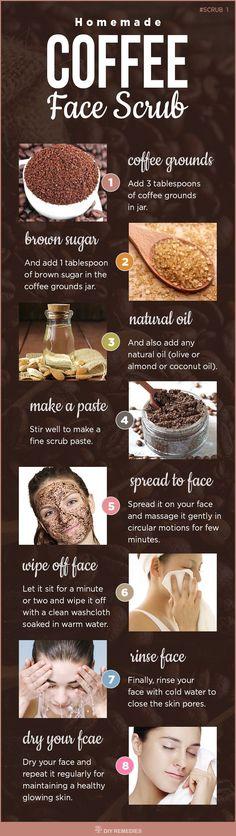 Homemade Natural Face Coffee Scrub http://beautifulclearskin.net/arabica-coffee-scrub-from-majestic/