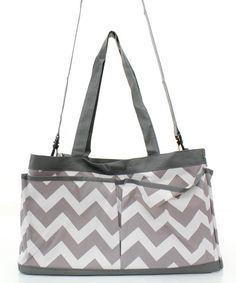 Large Grey and White Chevron Tote-Nurse Bag-Teacher Bag- Scrapbooking Tote-Includes Monogram- Chevron