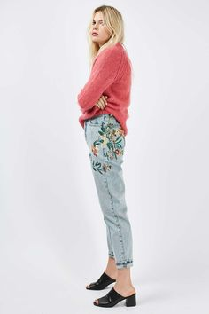 MOTO Fall Floral Embroidered Mom Jeans - Jeans - Clothing - Topshop USA