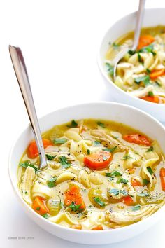 Rosemary Chicken Noodle Soup -- quick and easy to make, and oh-so-comforting   via Gimme Some Oven