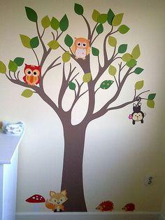 muurschildering boom met uilen en draakje | decoratie meisjeskamer, Deco ideeën