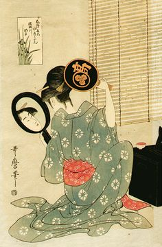 Utamaro 歌麿 Ohisa of the Takashima House Using Two Mirrors Japanese Prints, Japanese Art, Geisha, Asian Image, Mirror Art, Mirrors, Japanese Water, Japanese Painting, Portraits
