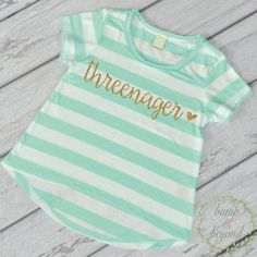 3rd Birthday Shirt Threenager Gold Glitter Shirt Three Year Old Girl Third Birthday Shirt 3rd Birthday Girl Outfit Ice Green T-Shirt 235