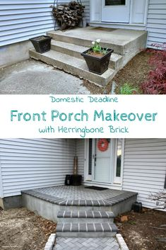 See how our front porch went from dilapidated to a beautiful gray herringbone brick drastically improving the curb appeal of our home. Domestic Deadline See how our front porch went from dilapidated to a beautiful gray herringbon Concrete Front Porch, Front Porch Steps, Small Front Porches, Porch Columns, Diy Front Porch Ideas, Brick Porch, Concrete Patios, Patio Ideas, Yard Ideas