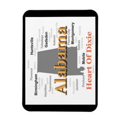 Alabama State Pride Map Silhouette Rectangular Magnets