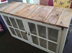 old windows - pallet wood - original window locks - rustic furniture - hand made - old dresser - TV Cabinet www.facebook.com/thechatterboxchester #vintagerusticfurniture