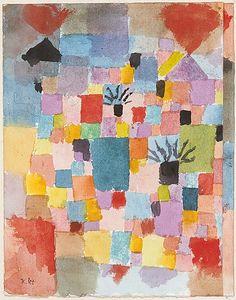 Southern Gardens  Paul Klee (alemán (nacido en Suiza), Münchenbuchsee 1879-1940 Muralto-Locarno)  Fecha: 1919 Medio: Acuarela y tinta sobre papel Dimensiones: H. 9-1/2, 7-3/8 pulgadas (W. 24,4 x 18,7 cm.) Clasificación: Dibujos Línea de crédito: La Colección Berggruen Klee, 1984