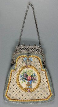 Beaded Handbag Artist/maker unknown, American Geography: Made in United States, North and Central America Date: c. 1905 Medium: Linen with bead embroidery, silver metal frame Vintage Purses, Vintage Bags, Vintage Handbags, Vintage Outfits, Vintage Shoes, Vintage Clothing, Beaded Purses, Beaded Bags, How To Make Handbags