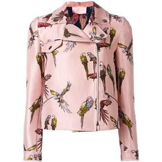 Giamba Parrot Print Biker Jacket (4611610 PYG) ❤ liked on Polyvore featuring outerwear, jackets, coats, tops, pink jacket, print jacket, multi coloured jacket, moto jacket and biker jacket