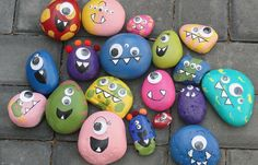 Rock Monsters   Go on a nature walk, have your kids collect some rocks, then paint to make little rock monsters.