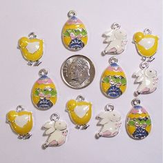12 EASTER Enamel Holiday Charms,Jewelry Crafts Scrapbooking #695